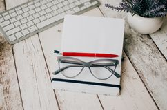 Office desk supplies Royalty Free Stock Photos