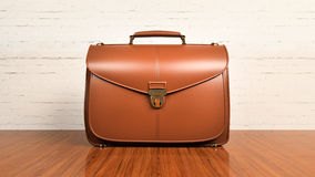 Office desk table with briefcase Royalty Free Stock Images