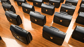 Office desk table with briefcase Stock Photos
