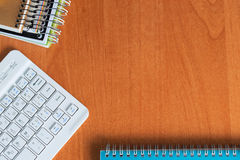 Office desk table with computer, supplies. Copy space for text.  Royalty Free Stock Photos