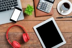 Office desk table with laptop royalty free stock photo