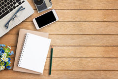 Office desk table with office equipment Royalty Free Stock Photo
