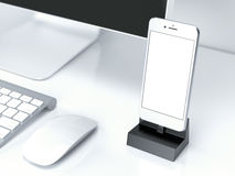 Office desk table with pc, keyboard and smartphone. 3d rendering Stock Photography