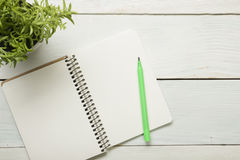 Office desk table with supplies and crumled paper. Top view. Copy space for text Stock Photography