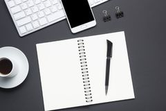 Office desk table with supplies. Flat lay Business workplace and objects. Top view. Copy space for text.  royalty free stock photo