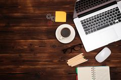 Office desk table with supplies. Flat lay Business workplace and objects. Top view. Copy space for text. Image stock image
