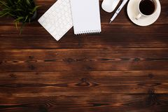 Office desk table with supplies. Flat lay Business workplace and objects. Top view. Copy space for text. Image royalty free stock photos