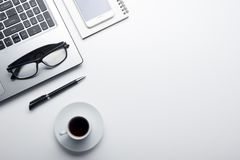Office desk table with supplies. Flat lay Business workplace and objects. Top view. Copy space for text.  royalty free stock image