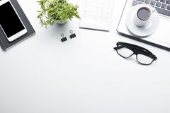 Office desk table with supplies. Flat lay Business workplace and objects. Top view. Copy space for text.  stock photos