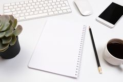 Office desk table with supplies. Flat lay Business workplace and objects. Top view. Copy space for text. Image stock photo