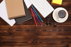 Office desk table with supplies. Flat lay Business workplace and objects. Top view. Copy space for text. Image stock images