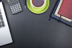 Office desk table with supplies. Top view. Copy space for text Stock Images