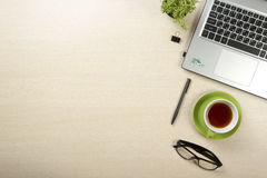 Office desk table with supplies. Top view. Copy space for text.  Royalty Free Stock Photos