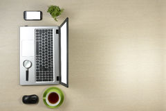Office desk table with supplies. Top view. Copy space for text Stock Photos
