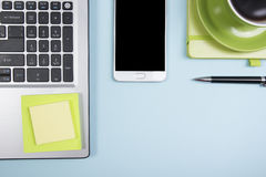 Office desk table with supplies. Top view. Copy space for text Royalty Free Stock Images