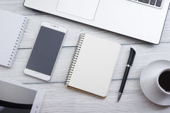 Office desk table with supplies. Top view. Copy space for text Royalty Free Stock Photo