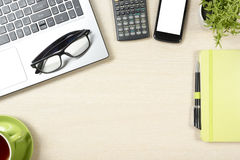 Office desk table with supplies. Top view. Copy space for text.  Stock Image