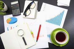 Office desk table with supplies. Top view. Copy space for text Stock Photography