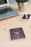 Office Desk with Thailand Passport and Office equipment Stock Photography