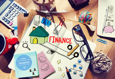Office Desk with Tools and Notes About Finance royalty free stock photos