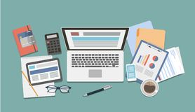 Office desk top. Office desk top view with laptop, documents and coffee Royalty Free Stock Images