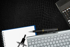 Office Desk Top View - Black Leather Royalty Free Stock Image
