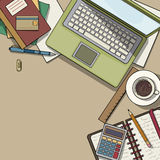 Office desk top view. Filled with various items, laptop, notebooks, coffee cup, color illustration Royalty Free Stock Images