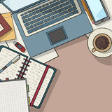 Office desk top view Royalty Free Stock Photography