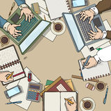 Office desk top view. Filled with various items, laptop, notebooks, coffee cup, many hands working around the able, office meeting, color illustration Royalty Free Stock Images