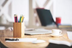 Free Office Desk Top With Objects Royalty Free Stock Photos - 108627258