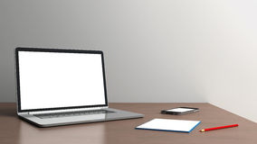 Office desk  on a white background Stock Image