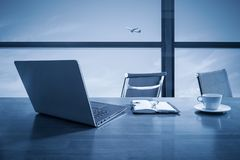 Office desk with window scene Royalty Free Stock Photos