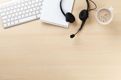 Free Office Desk With Headset And Pc Stock Images - 69298314