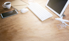 Office desk wood table of Business workplace and business object. S Stock Images