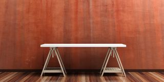 Office desk on a wooden floor. 3d illustration Royalty Free Stock Photography