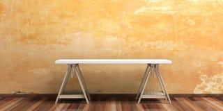 Office desk on a wooden floor. 3d illustration Stock Photos
