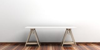 Office desk on a wooden floor. 3d illustration Royalty Free Stock Images