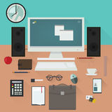 Office desk with work essentials vector design. Royalty Free Stock Image