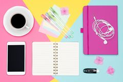Free Office Desk Working Space Flat Lay. Top View Photo Of Workspace With Blank Mock Up Smartphone, Coffee Cup And Open Notepad. Stock Image - 121915741