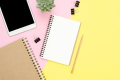 Flat lay top view photo of working space with blank mock up tablet, plant tree and notebook on pastel background. Royalty Free Stock Images