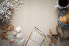 Office desk,Working on a Spring Table,vintage background. Desk work in the spring, the vintage, the background color is brown Kraft paper Royalty Free Stock Image