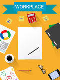 Office desk ,working on white table Stock Photography