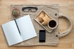 Office desk,Working on a Wooden Table. Home related royalty free stock images