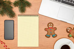Office desk, Working on a Wooden Table with notebook and Christm Stock Photography