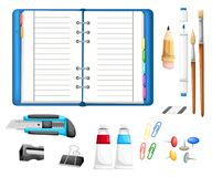 Office desk and workspace concept with flat modern icon design Illustration flat icons of trendy everyday objects, office supplies Royalty Free Stock Image