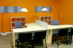 Office desks. Two office desks in new work place royalty free stock photo