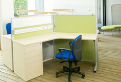 Office desks and blue chairs cubicle set Royalty Free Stock Image