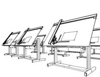 Office Desks For Drawing Vector 05 Stock Image