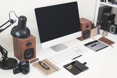 Office desktop computer mockup Royalty Free Stock Photo