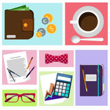 Office desktop with item icons Stock Images